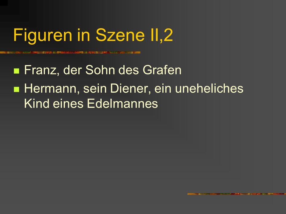 Figuren in Szene II,2 Franz, der Sohn des Grafen Hermann, sein Diener, ein uneheliches Kind eines Edelmannes