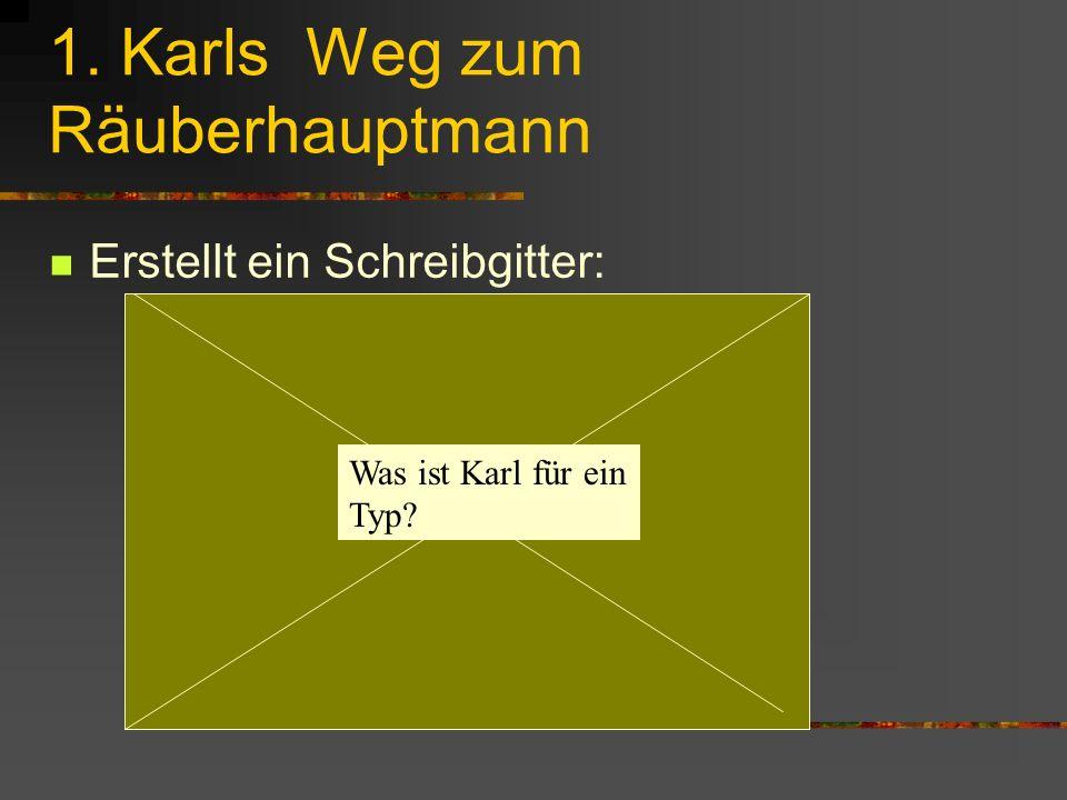 1. Karls Weg zum Räuberhauptmann Erstellt ein Schreibgitter: Was ist Karl für ein Typ?
