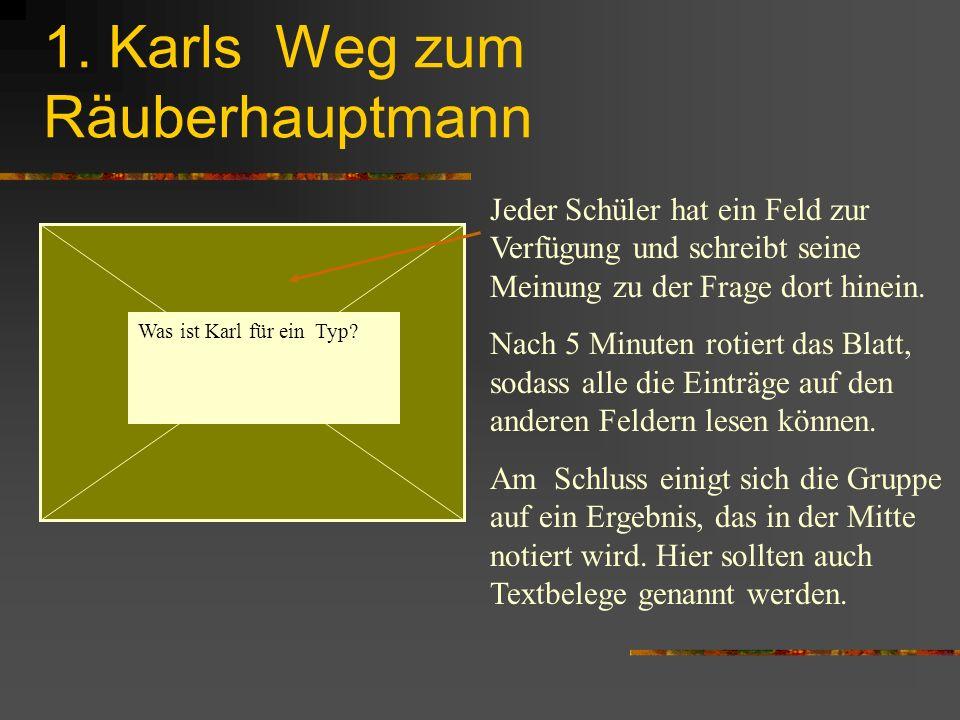 1. Karls Weg zum Räuberhauptmann Was ist Karl für ein Typ? Jeder Schüler hat ein Feld zur Verfügung und schreibt seine Meinung zu der Frage dort hinei