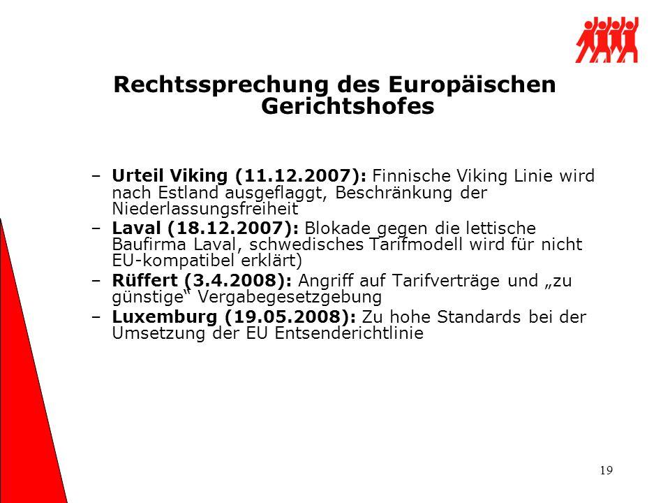 19 Rechtssprechung des Europäischen Gerichtshofes –Urteil Viking (11.12.2007): Finnische Viking Linie wird nach Estland ausgeflaggt, Beschränkung der
