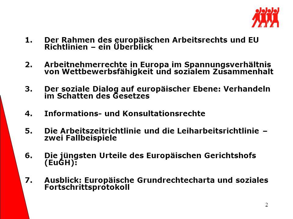 3 Arbeitnehmerrechte gehören zum sozialen Besitzstand der EU Zu den Zielen der Europäischen Union gehören : - Ein hohes Beschäftigungsniveau -Ein hohes Maβ an sozialem Schutz -Die Gleichstellung von Männern und Frauen -Die Verbesserung der Lebensqualität und sozialer Zusammenhalt -(Artikel 2 Römische Verträge 1957 und Nizza- Vertrag 2000)