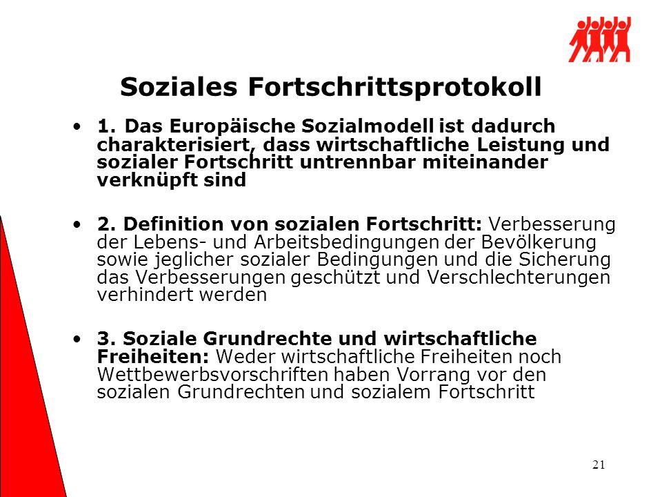 21 Soziales Fortschrittsprotokoll 1. Das Europäische Sozialmodell ist dadurch charakterisiert, dass wirtschaftliche Leistung und sozialer Fortschritt