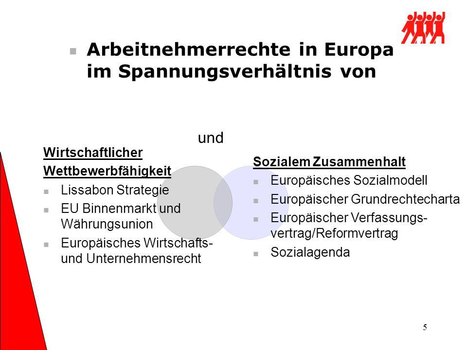 5 Arbeitnehmerrechte in Europa im Spannungsverhältnis von Wirtschaftlicher Wettbewerbfähigkeit Lissabon Strategie EU Binnenmarkt und Währungsunion Eur