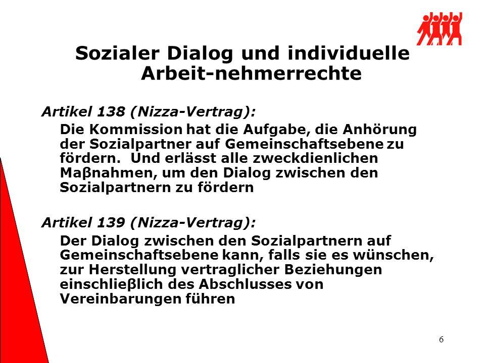 6 Sozialer Dialog und individuelle Arbeit-nehmerrechte Artikel 138 (Nizza-Vertrag): Die Kommission hat die Aufgabe, die Anhörung der Sozialpartner auf