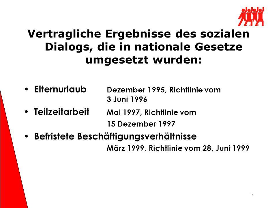 7 Vertragliche Ergebnisse des sozialen Dialogs, die in nationale Gesetze umgesetzt wurden: Elternurlaub Dezember 1995, Richtlinie vom 3 Juni 1996 Teil
