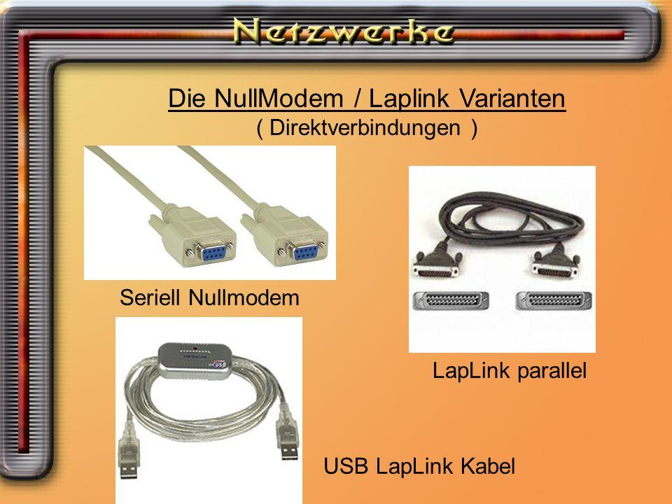 Die NM/LL Variante Die NullModem / Laplink Varianten ( Direktverbindungen ) Seriell Nullmodem LapLink parallel USB LapLink Kabel