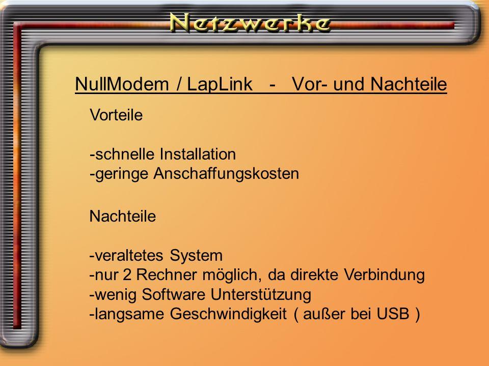 NullModem / LapLink - Vor- und Nachteile Vorteile -schnelle Installation -geringe Anschaffungskosten Nachteile -veraltetes System -nur 2 Rechner mögli
