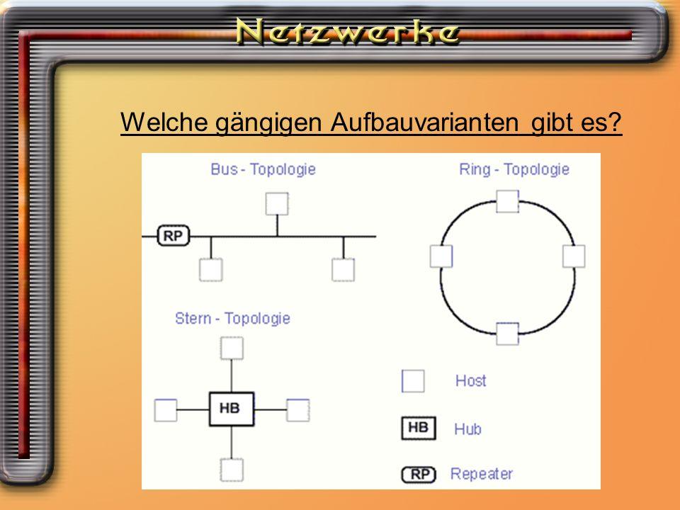 Welche Möglichkeiten ein Netzwerk aufzubauen habe ich? Welche gängigen Aufbauvarianten gibt es?