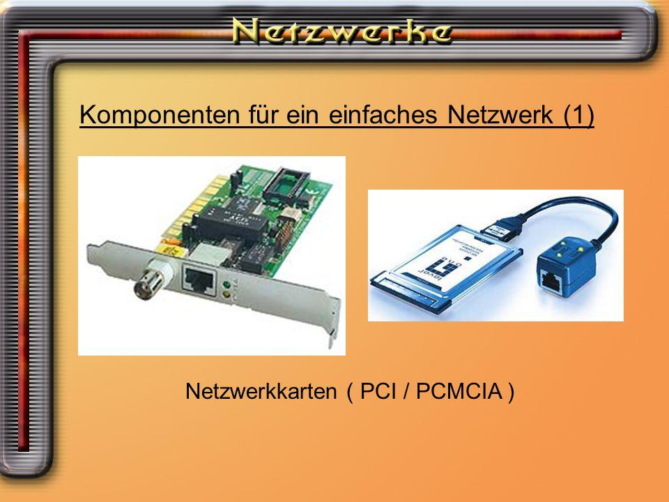 Komponenten für ein einfaches Netzwerk (1) Netzwerkkarten ( PCI / PCMCIA )