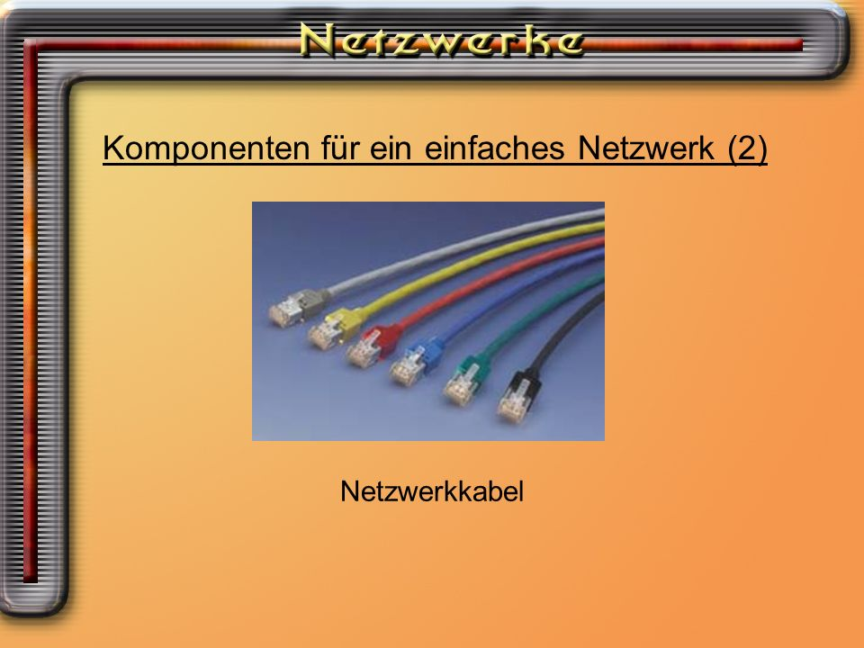 Komponenten für ein einfaches Netzwerk (3) Netzwerkhub oder Switch