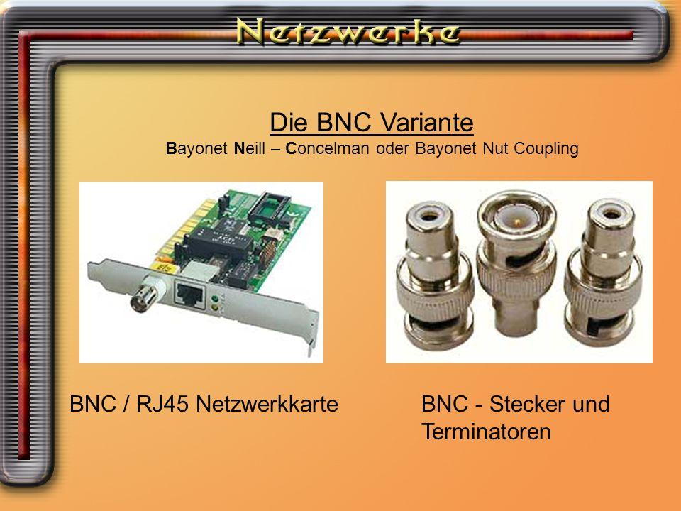 Die BNC Variante Bayonet Neill – Concelman oder Bayonet Nut Coupling BNC / RJ45 NetzwerkkarteBNC - Stecker und Terminatoren