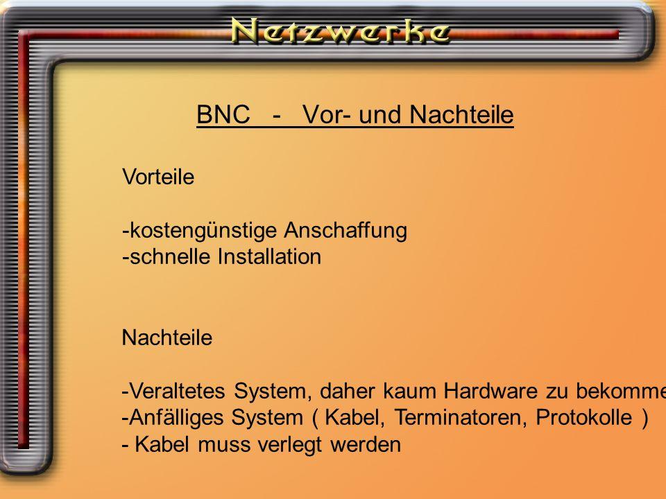 BNC - Vor- und Nachteile Vorteile -kostengünstige Anschaffung -schnelle Installation Nachteile -Veraltetes System, daher kaum Hardware zu bekommen -An