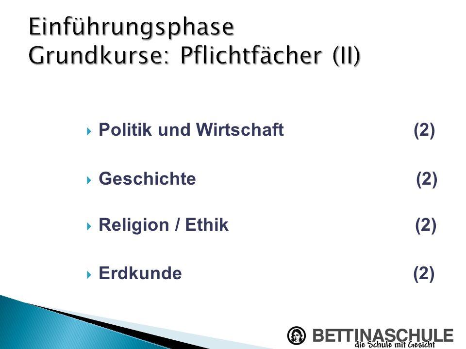 Politik und Wirtschaft (2) Geschichte (2) Religion / Ethik (2) Erdkunde (2)