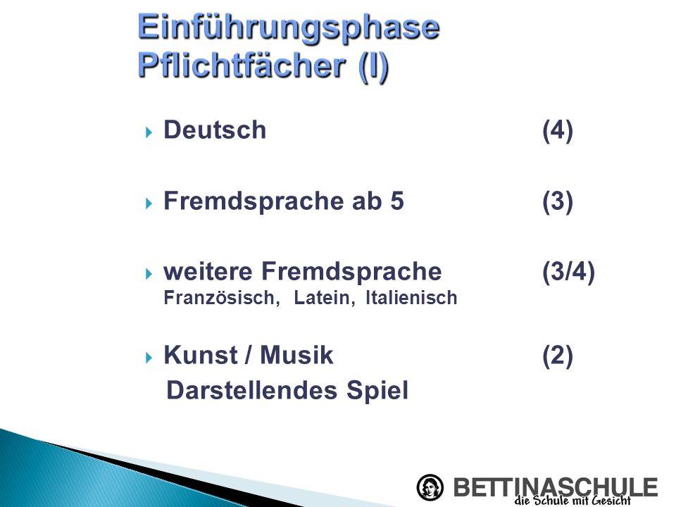 Deutsch(4) Fremdsprache ab 5 (3) weitere Fremdsprache(3/4) Französisch, Latein, Italienisch Kunst / Musik(2) Darstellendes Spiel