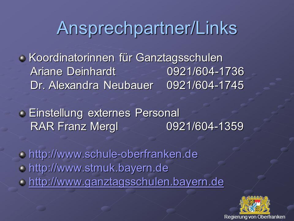 Ansprechpartner/Links Koordinatorinnen für Ganztagsschulen Ariane Deinhardt 0921/604-1736 Ariane Deinhardt 0921/604-1736 Dr.