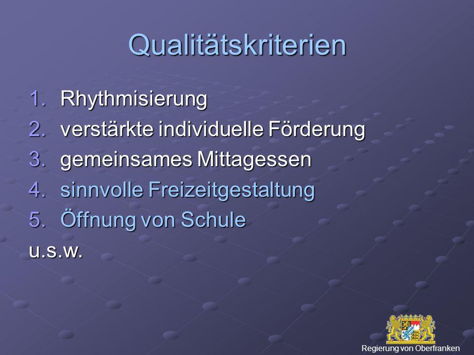 Qualitätskriterien 1.Rhythmisierung 2.verstärkte individuelle Förderung 3.gemeinsames Mittagessen 4.sinnvolle Freizeitgestaltung 5.Öffnung von Schule u.s.w.