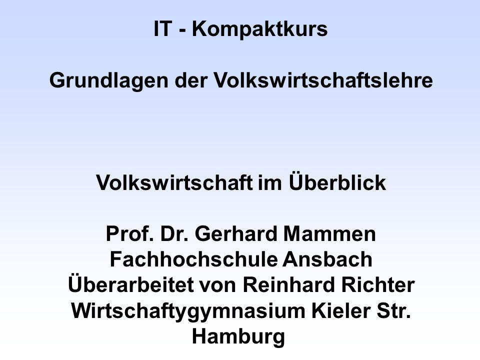 IT - Kompaktkurs Grundlagen der Volkswirtschaftslehre Volkswirtschaft im Überblick Prof. Dr. Gerhard Mammen Fachhochschule Ansbach Überarbeitet von Re
