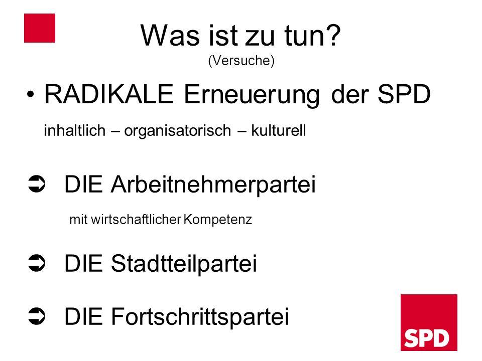 Was ist zu tun? (Versuche) RADIKALE Erneuerung der SPD inhaltlich – organisatorisch – kulturell DIE Arbeitnehmerpartei mit wirtschaftlicher Kompetenz