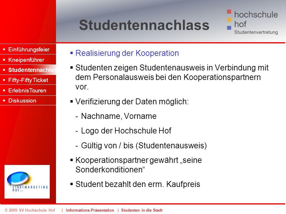 © 2009 SV Hochschule Hof | Informations-Präsentation | Studenten in die Stadt Studentennachlass Realisierung der Kooperation Studenten zeigen Studente