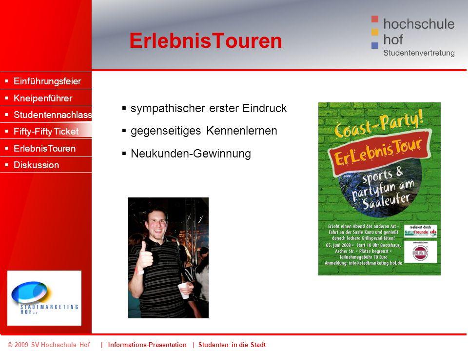 © 2009 SV Hochschule Hof | Informations-Präsentation | Studenten in die Stadt ErlebnisTouren Einführungsfeier Kneipenführer Studentennachlass Fifty-Fi