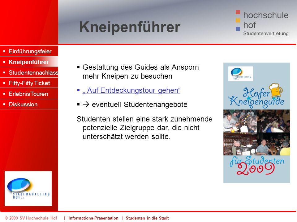 © 2009 SV Hochschule Hof | Informations-Präsentation | Studenten in die Stadt Kneipenführer Gestaltung des Guides als Ansporn mehr Kneipen zu besuchen