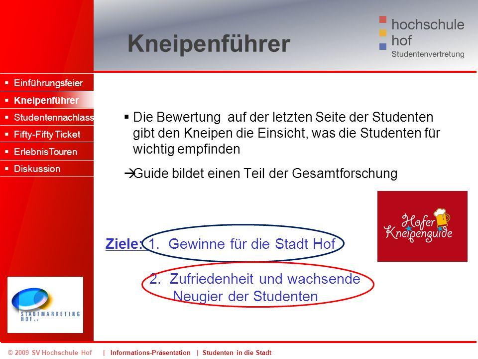 © 2009 SV Hochschule Hof | Informations-Präsentation | Studenten in die Stadt Kneipenführer Die Bewertung auf der letzten Seite der Studenten gibt den