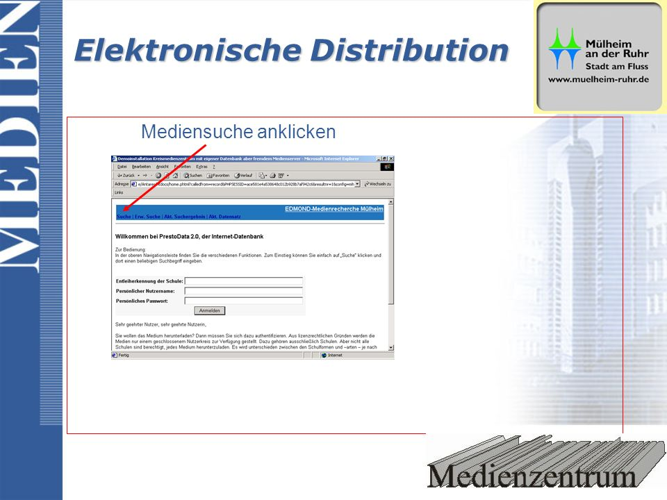Elektronische Distribution Mediensuche anklicken