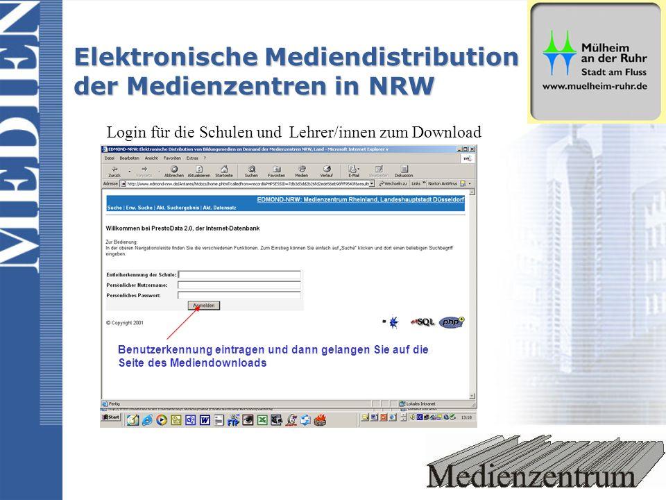 Elektronische Mediendistribution der Medienzentren in NRW Login für die Schulen und Lehrer/innen zum Download 1.eingabe dewr Entleiherkennung der Schule 2.