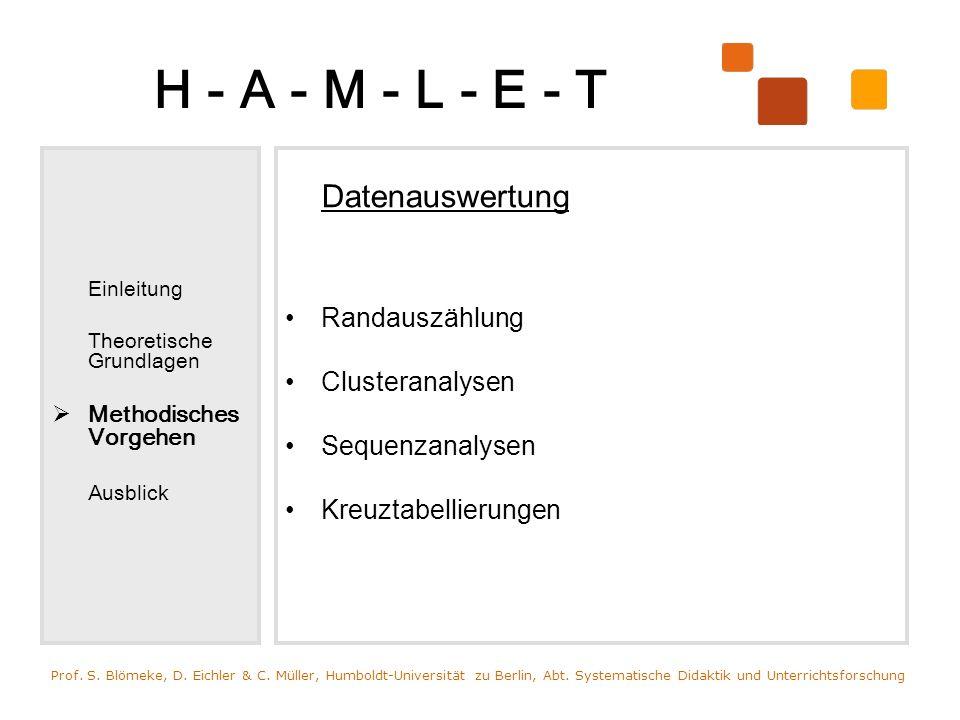 H - A - M - L - E - T Einleitung Theoretische Grundlagen Methodisches Vorgehen Ausblick Datenauswertung Randauszählung Clusteranalysen Sequenzanalysen