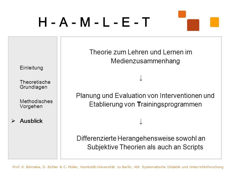 H - A - M - L - E - T Einleitung Theoretische Grundlagen Methodisches Vorgehen Ausblick Theorie zum Lehren und Lernen im Medienzusammenhang Planung un