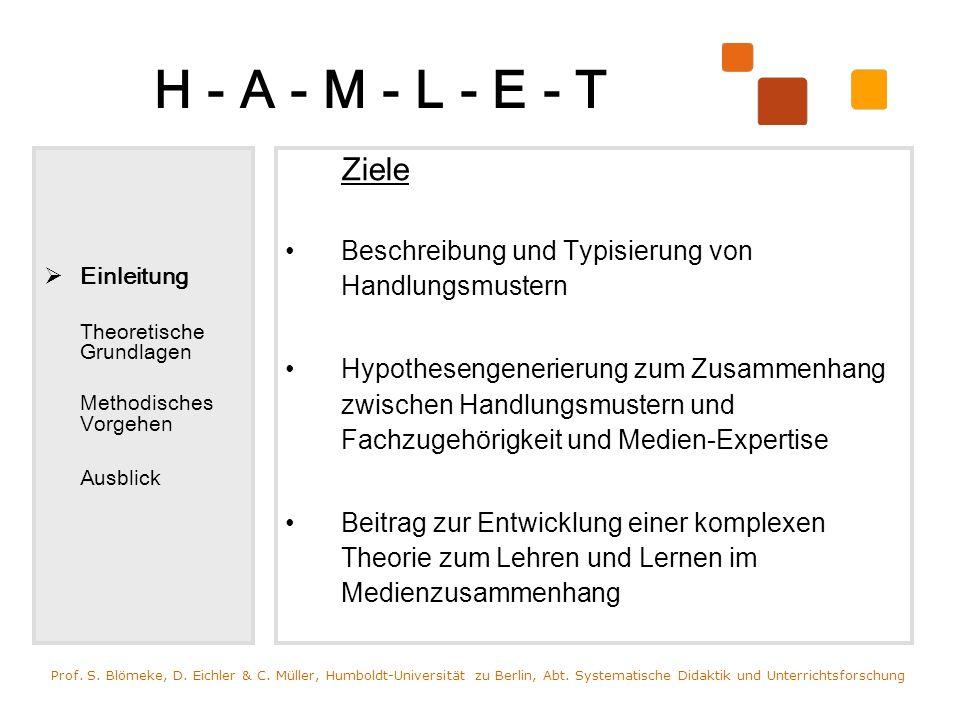 H - A - M - L - E - T Einleitung Theoretische Grundlagen Daten- erhebung Daten- auswertung Ausblick Ziele Beschreibung und Typisierung von Handlungsmu