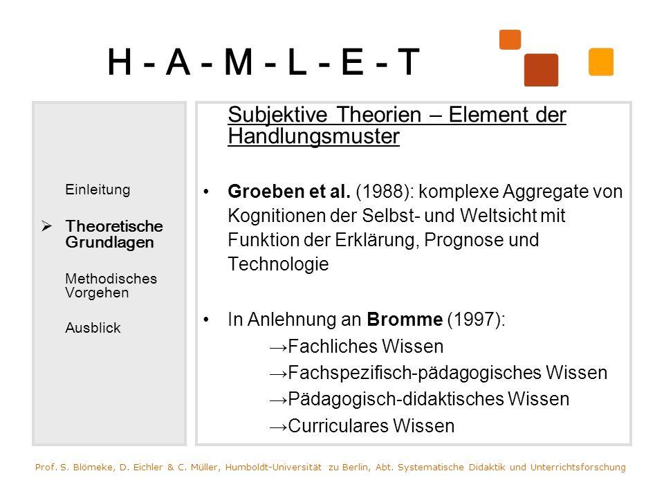H - A - M - L - E - T Einleitung Theoretische Grundlagen Methodisches Vorgehen Ausblick Subjektive Theorien – Element der Handlungsmuster Groeben et a