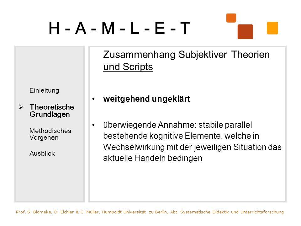 H - A - M - L - E - T Einleitung Theoretische Grundlagen Methodisches Vorgehen Ausblick Zusammenhang Subjektiver Theorien und Scripts weitgehend ungek