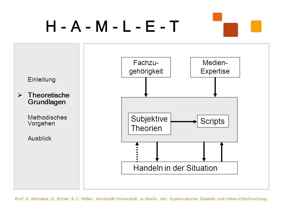 H - A - M - L - E - T Einleitung Theoretische Grundlagen Methodisches Vorgehen Ausblick Prof. S. Blömeke, D. Eichler & C. Müller, Humboldt-Universität
