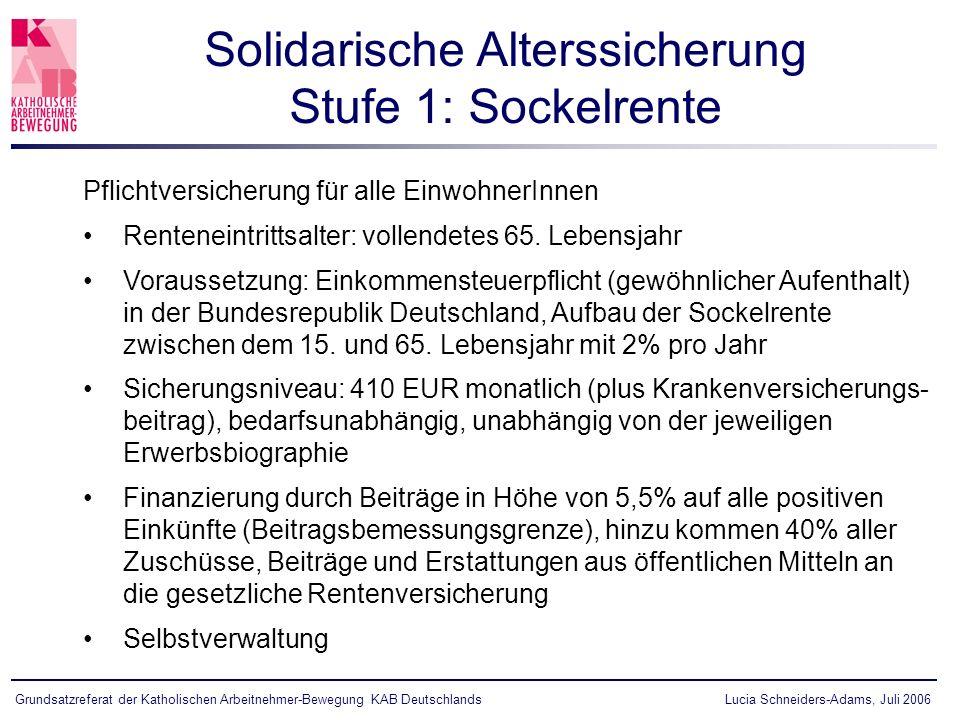 Lucia Schneiders-Adams, Juli 2006Grundsatzreferat der Katholischen Arbeitnehmer-Bewegung KAB Deutschlands Pflichtversicherung für alle EinwohnerInnen