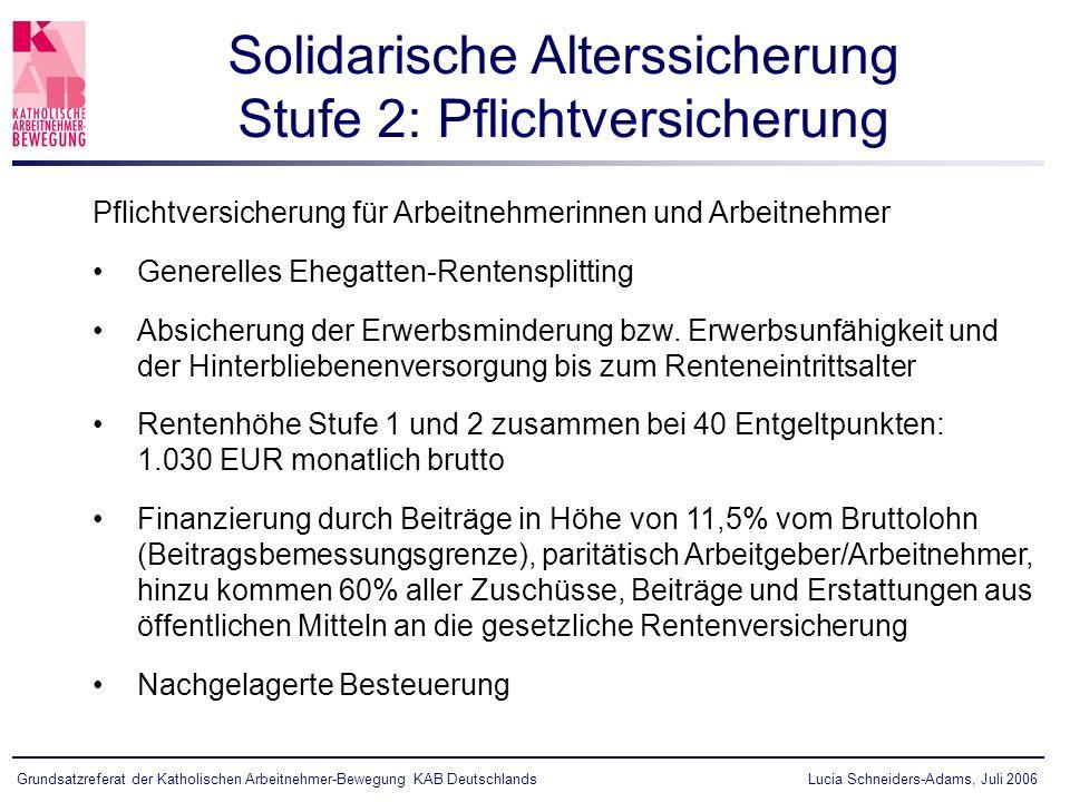 Lucia Schneiders-Adams, Juli 2006Grundsatzreferat der Katholischen Arbeitnehmer-Bewegung KAB Deutschlands Pflichtversicherung für Arbeitnehmerinnen un