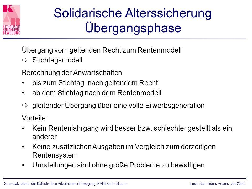Lucia Schneiders-Adams, Juli 2006Grundsatzreferat der Katholischen Arbeitnehmer-Bewegung KAB Deutschlands Übergang vom geltenden Recht zum Rentenmodel