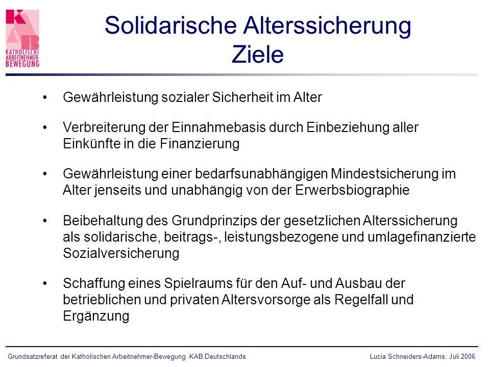 Lucia Schneiders-Adams, Juli 2006Grundsatzreferat der Katholischen Arbeitnehmer-Bewegung KAB Deutschlands Gewährleistung sozialer Sicherheit im Alter