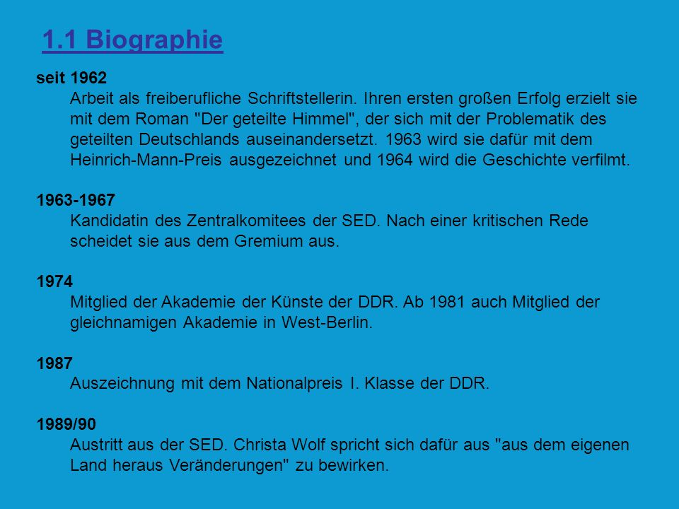 1.1 Biographie 1990 Die Universität Hildesheim verleiht ihr die Ehrendoktorwürde.
