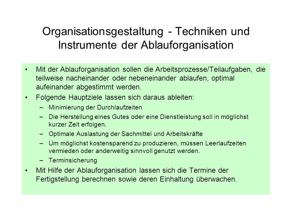 Organisationsgestaltung - Techniken und Instrumente der Ablauforganisation Mit der Ablauforganisation sollen die Arbeitsprozesse/Teilaufgaben, die tei