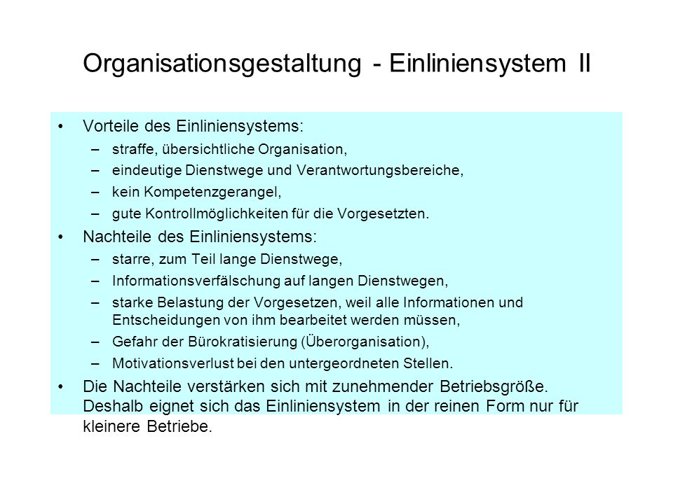 Organisationsgestaltung - Mehrliniensystem I Mit zunehmender Betriebsgröße nimmt auch die Arbeitsteilung zu.