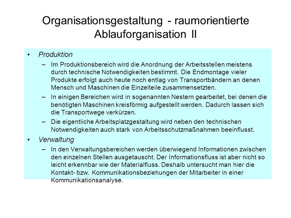 Organisationsgestaltung - raumorientierte Ablauforganisation II Produktion –Im Produktionsbereich wird die Anordnung der Arbeitsstellen meistens durch