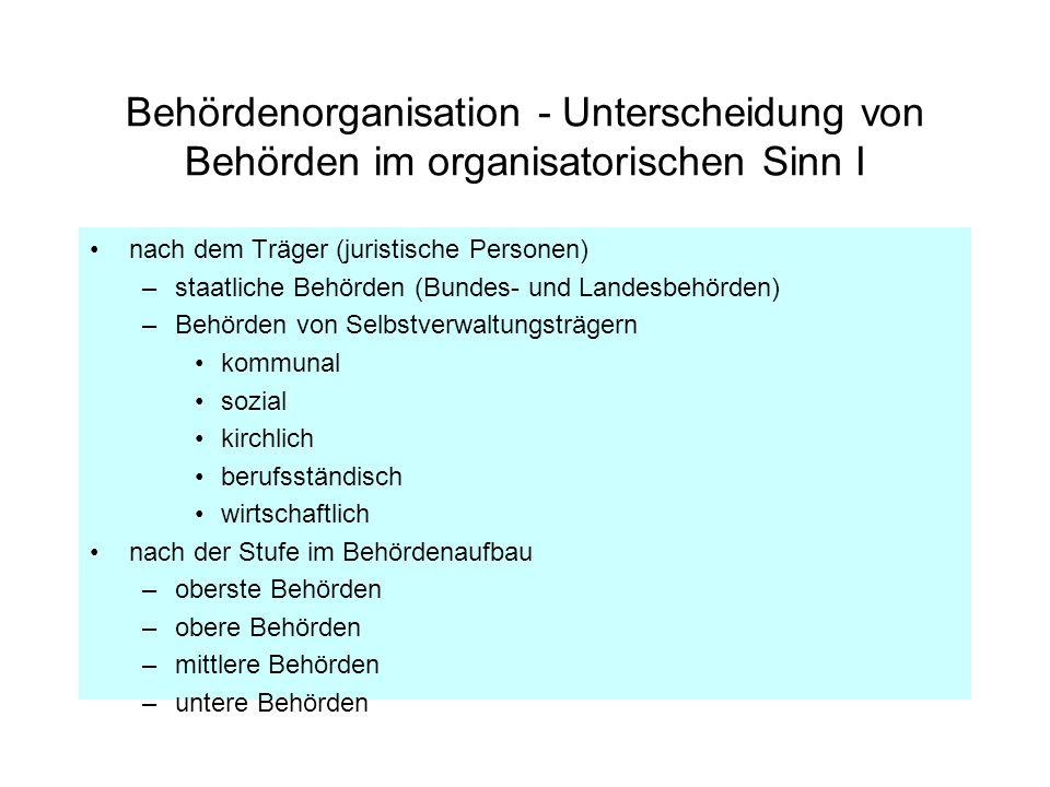 Behördenorganisation - Unterscheidung von Behörden im organisatorischen Sinn I nach dem Träger (juristische Personen) –staatliche Behörden (Bundes- un