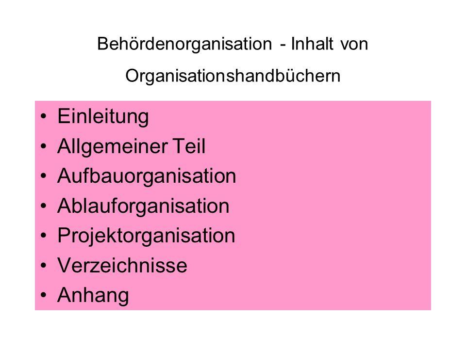 Behördenorganisation - Inhalt von Organisationshandbüchern Einleitung Allgemeiner Teil Aufbauorganisation Ablauforganisation Projektorganisation Verze
