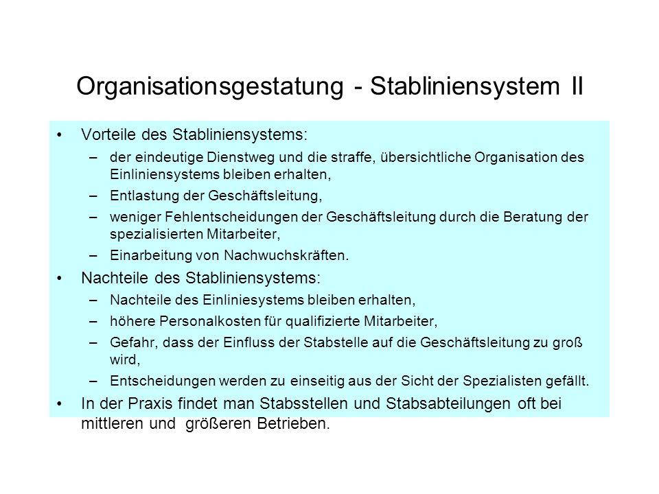 Organisationsgestatung - Stabliniensystem II Vorteile des Stabliniensystems: –der eindeutige Dienstweg und die straffe, übersichtliche Organisation de