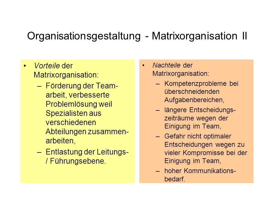 Organisationsgestaltung - Centerkonzept I Das Center-Konzept teilt den Betrieb direkt unterhalb der Geschäftsleitung objektorientiert in produkt- oder projektbezogene Geschäftsbereiche, die sogenannten Center auf.