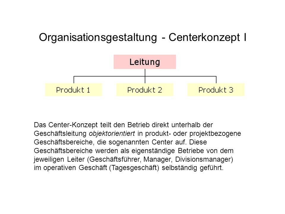 Organisationsgestaltung - Centerkonzept I Das Center-Konzept teilt den Betrieb direkt unterhalb der Geschäftsleitung objektorientiert in produkt- oder