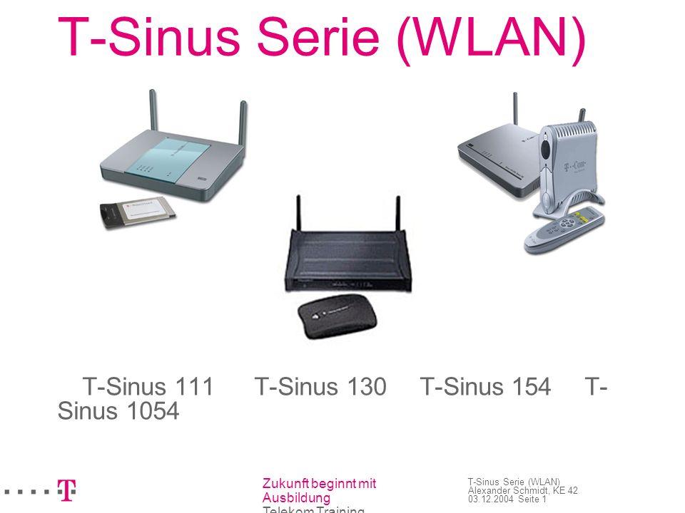 Zukunft beginnt mit Ausbildung Telekom Training T-Sinus Serie (WLAN) Alexander Schmidt, KE 42 03.12.2004 Seite 1 T-Sinus Serie (WLAN) T-Sinus 111 T-Si
