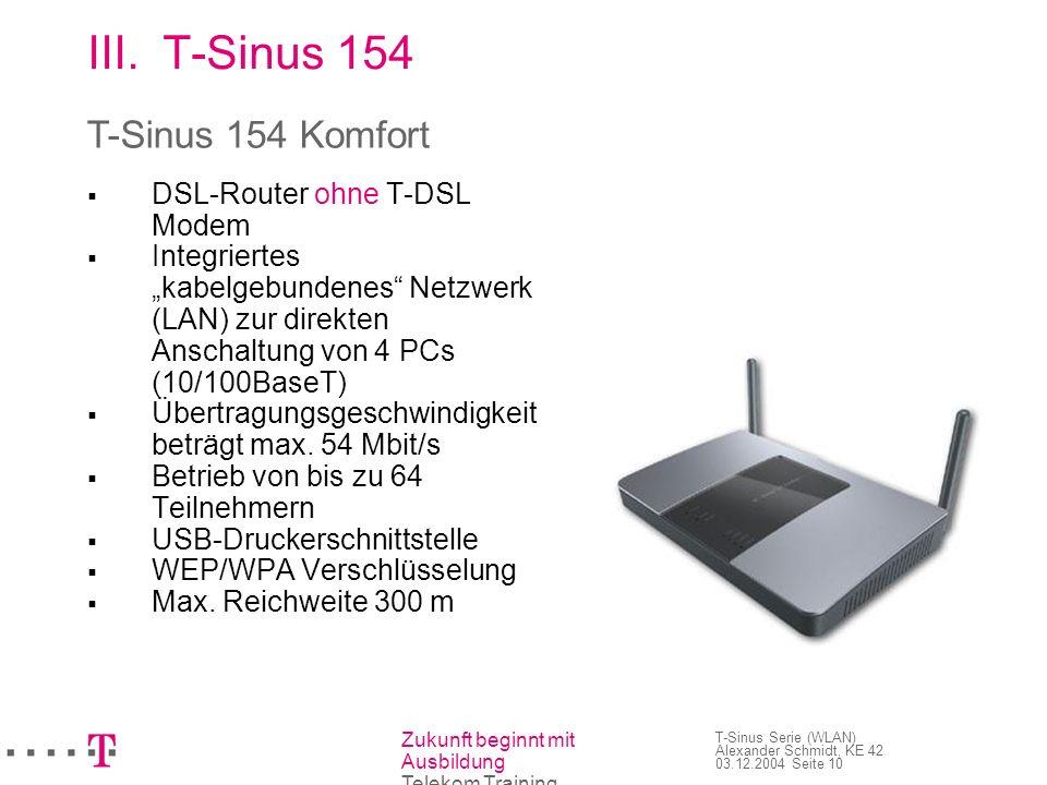 Zukunft beginnt mit Ausbildung Telekom Training T-Sinus Serie (WLAN) Alexander Schmidt, KE 42 03.12.2004 Seite 10 III.T-Sinus 154 DSL-Router ohne T-DS