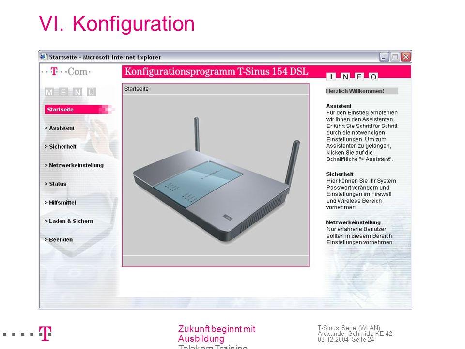 Zukunft beginnt mit Ausbildung Telekom Training T-Sinus Serie (WLAN) Alexander Schmidt, KE 42 03.12.2004 Seite 24 VI.Konfiguration